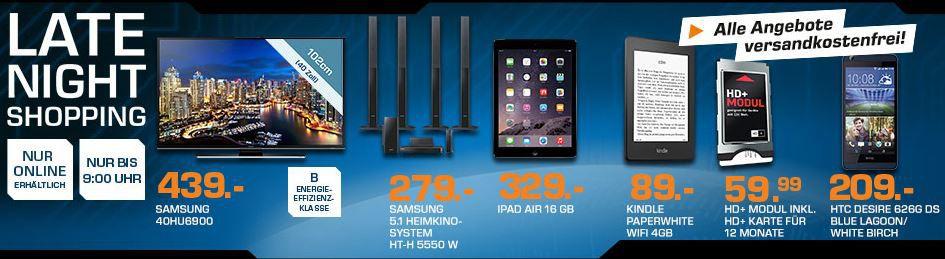 SAMSUNG UE40HU6900   40 Zoll Smart UHD TV ab 435€ und mehr Top Saturn Late NightShopping Angebote