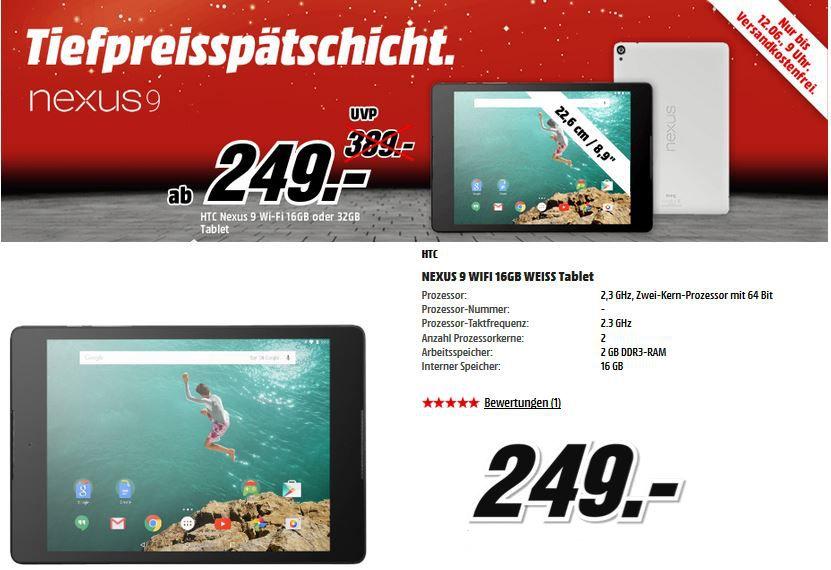 HTC Nexus 9 Tablet ab 249€ in der MediaMarkt Tiefpreisspätschicht