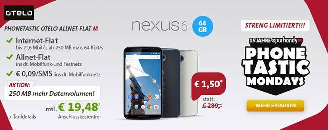 Knaller! Otelo Allnet Flat M mit 750MB Internet + Nexus 6 mit 64GB für 19,54€ pro Monat
