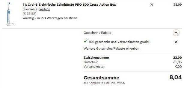 Preisfehler? Braun Oral B PRO 600 Cross für 8,04€   nur für Neukunden