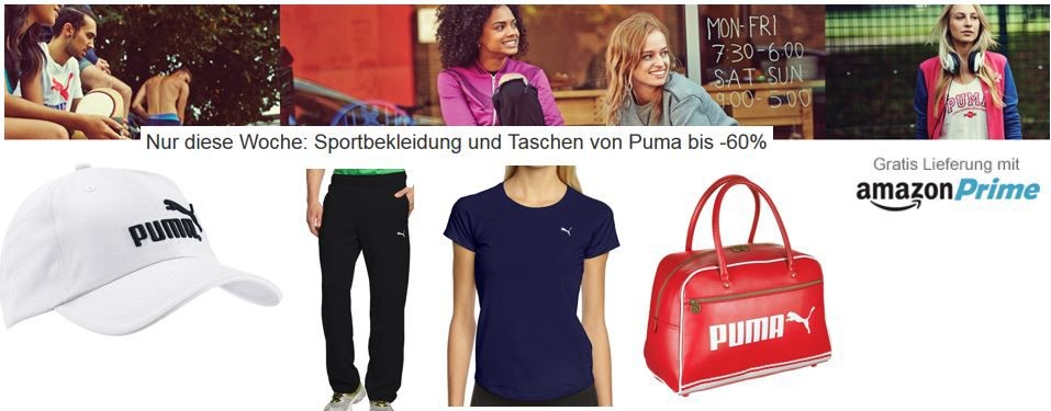 Puma mit bis zu  60% Rabatt auf ausgewählte Sportbekleidung und Taschen @ Amazon   Update