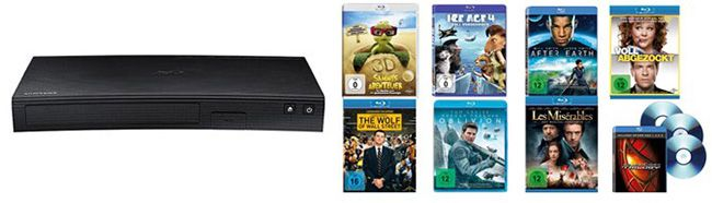 Samsung BD J5500 3D Blu ray Player + 10 Filme für 99€   Wolf of Wall Street, Ice Age 4 uvm.