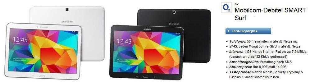 O2 SMART Surf mit 50 Min + 50SMS + 1GB Daten Flat inkl. Samsung Galaxy Tab 4 10.1 LTE für 11,36€/mtl.