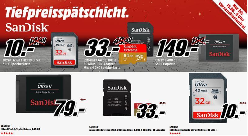 SanDisk Sale SanDisk USB3 Stick Ultra 32GB USB 3.0 Stick für 9€ bei der MediaMarkt SANDISK Tiefpreisspätschicht