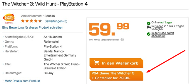 Saturn Button The Witcher 3: Wild Hunt (PS4) + PS4 Controller für 79,99€