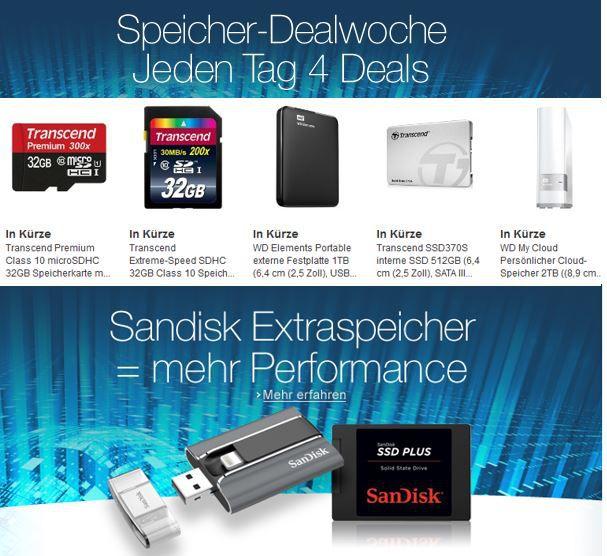 Speicherdeals Tipp: Amazon Speicherdeals heute mit über 60 SSD, USB Sticks, SD