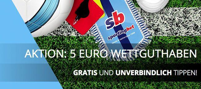 5€ Wettguthaben ohne notwendige Einzahlung bei Sportingbet – nur für Neukunden!