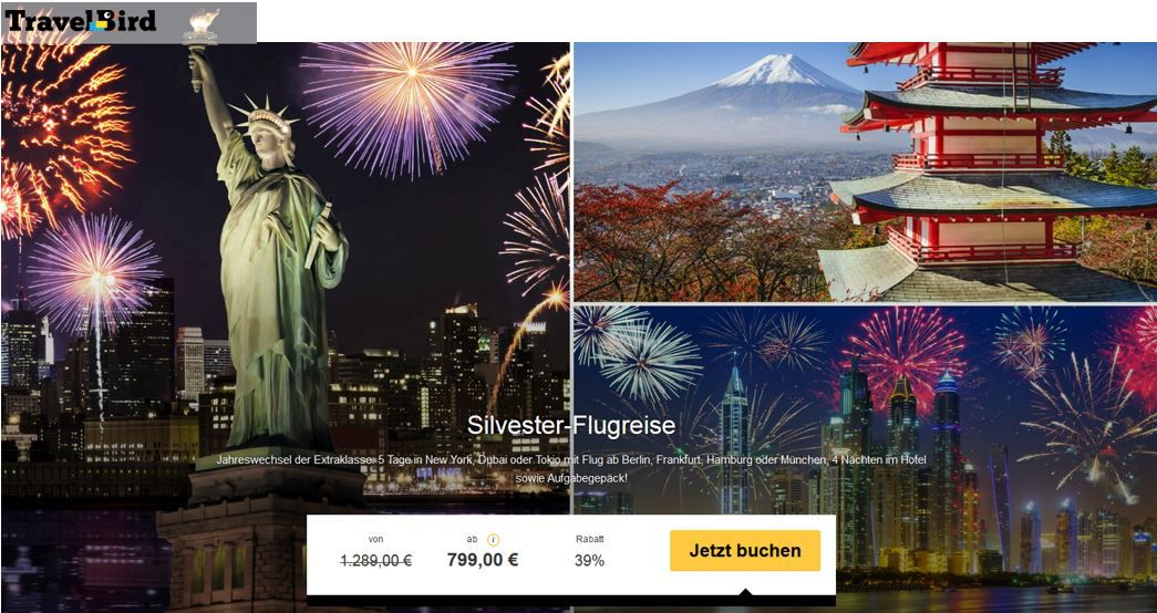 Silvester Flugreise   5 Tage in New York, Dubai oder Tokio ab 799€ p.P.    2 bis 4 Tage Amsterdam ab 99€   Update