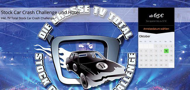 TV Total Stock Car Crash Challenge 1 Ticket für die TV Total Stock Car Crash Challenge + 1 Übernachtung mit Frühstück im 3 Sterne ARCADIA Hotel für 65€ p.P.