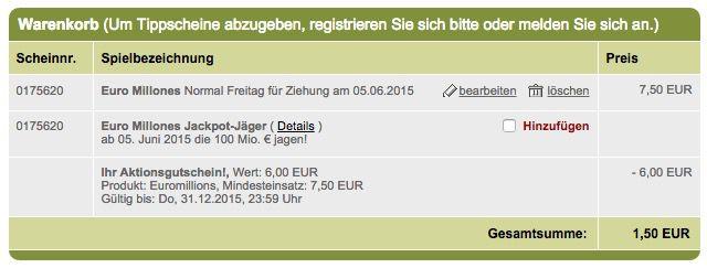 Tipp24 Warenkorb Tipp24: 3 EuroMillions Tippfelder für 1,50€   129 Mio. Jackpot, nur für Neukunden