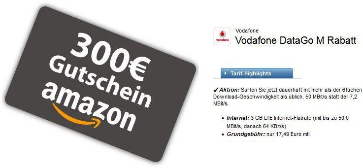 Vodafone 300e geschenkt 3GB LTE (50,0 MBit/s) Vodafone DataGo M Vertrag + 300€ Amazon Gutschein für 17,49€ mtl.