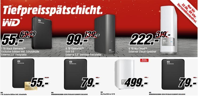 WD Spreicherdeal WD Elements Desktop 4TB Festplatte ab 99€ bei der WD MediaMarkt Tiefpreisspätschicht