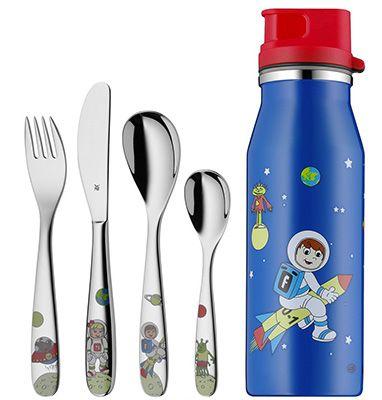 WMF Kinderbesteck Set 5 teilig Willy Mia Fred Space + Trinkflasche für 19,95€