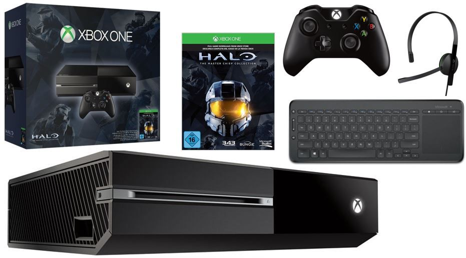 Xbox One mit 500GB + Halo   The Master Chief Collection + AIO Tastatur für nur 299€