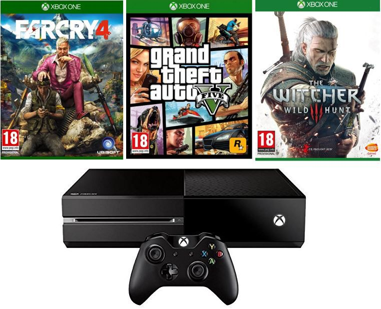 Xbox Bundle Xbox One Konsole + The Witcher 3 + Far Cry 4 + GTA V für 398€