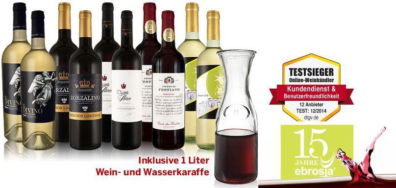 Ebrosia Probierangebot: 10 Flaschen Weine für den Sommer inkl. 1l Karaffe für nur 44,90€   Update!