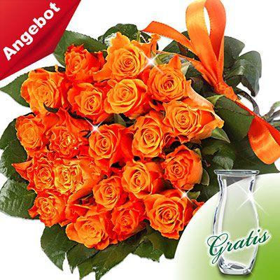 Flora Prima mit 20 orangen Rosen im Bund + Vase + Grußkarte für 21,98€
