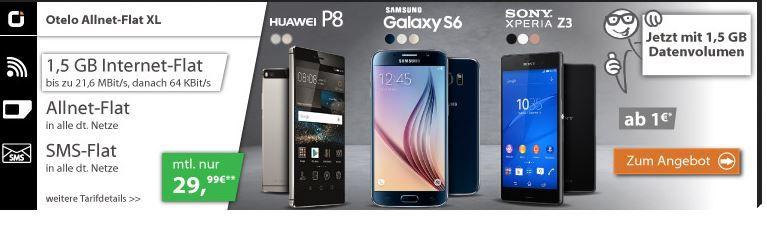 iPhone 6 Angebot Samsung Galaxy S6 32GB + Otelo Allnet Flat XL Aktion + SMS Flat + 1,5GB Daten für 32,87€ mtl. und mehr coole Smartphones   Update