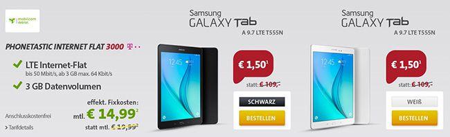3GB Telekom LTE Datenflat + Galaxy Tab A 9.7 LTE für 15,05€ mtl.   Update!