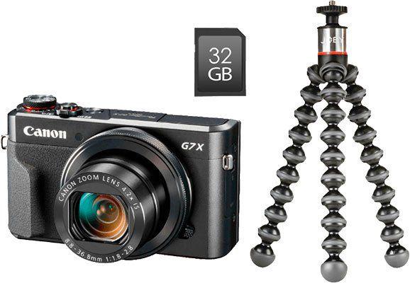 Canon PowerShot G7X Mark II Digitalkamera im Vlogger Kit mit Stativ und 32GB Speicherkarte + 40€ MM Gutschein ab 499€ (statt 542€)