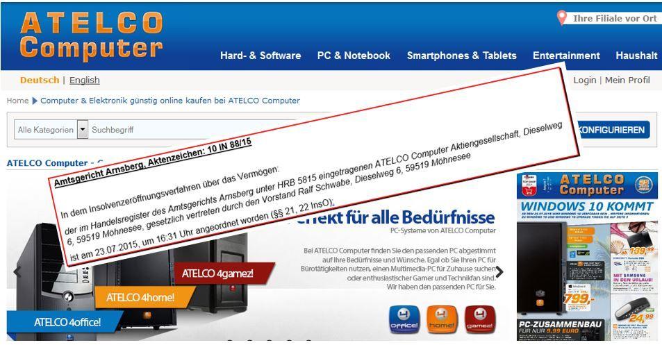 Info: Zur Insolvenz von Atelco