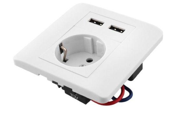 Schuko Steckdose mit 2 USB Ladegeräte (8,8 x 8,8 x 4 cm) für 10,99€