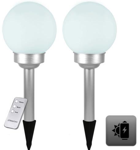 2x LED Solarlampe Solarleuchte Kugellampe   Farbwechsel & Fernbedienung für 9,99€