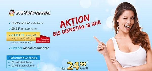 DeutschlandSIM LTE 3000 mit 6GB LTE, Allnet Flat und SMS Flat für 24,99€ monatlich