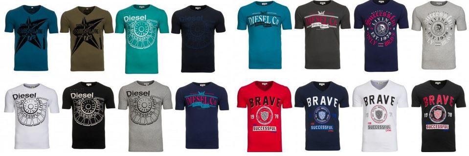 Diesel T Shirts DIESEL Herren T Shirts   16 Modelle von S bis 2XL für je 26,99€