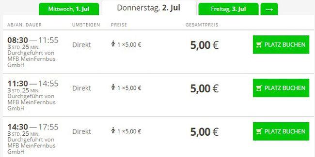 5.555 FlixBus und MeinFernbus Tickets für je 5€   verfügbar auf 5 Strecken