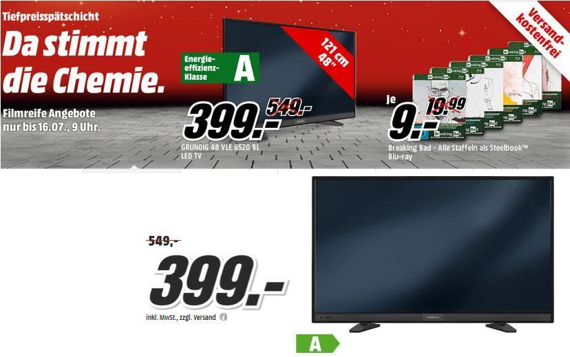 GRUNDIG 48 VLE 6520 BL Schwarz GRUNDIG 48VLE6520BL   48 Zoll TV   in der MediaMarkt Tiefpreisspätschicht für 399€