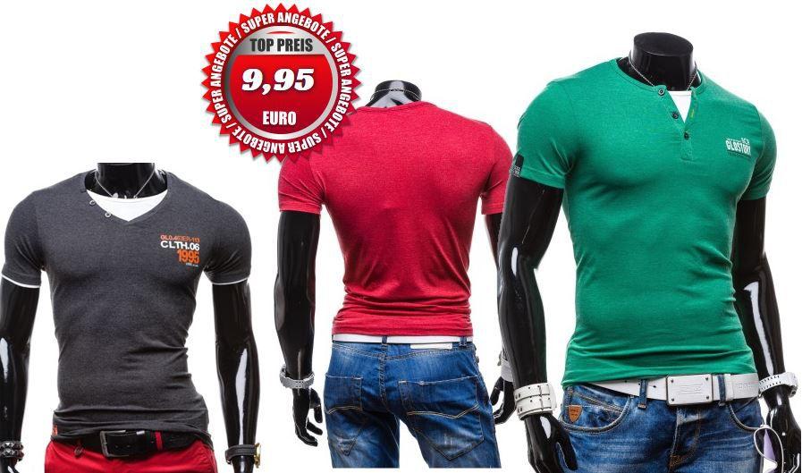 GLO STORY   Sommer Old School Herren T Shirts, mit Rund   oder V Ausschnitt für je 9,95€