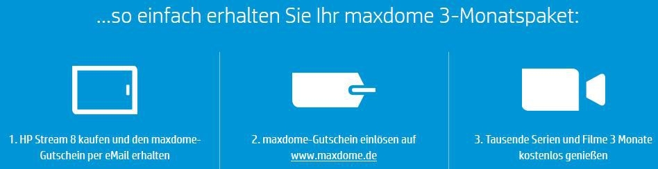 HP Stream 8 Tablet inkl. HP Data Pass (200MB Datenflat (3G)) + 3 Monate Maxdome + Microsoft Office 365 für ein Jahr für 99,50€