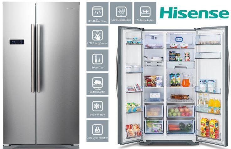 Hisense SBS 562 NA+ Side by Side NoFrost Edelstahl Gefrierkombi für 499€ (statt 649€)