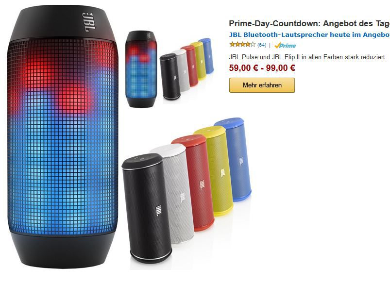 JBL JBL Flip II   mobiler Lautsprecher & JBL Pulse ab 59€ nur heute als Countdown Angebot zum Prime Day