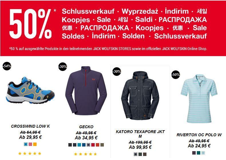Jack Wolfskin Online Shop   bis zu 50% Rabatt auf ausgewählte Artikel + 10€ Gutscheincode   Update