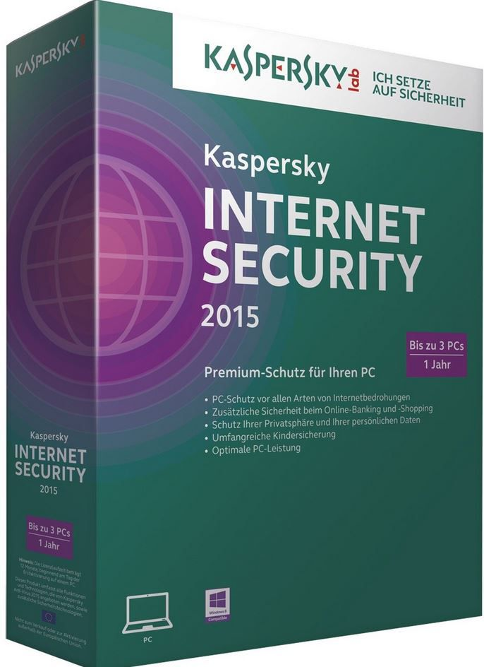 Kaspersky Internet Security 2015   3er PC Jahreslizenz für 14,90€