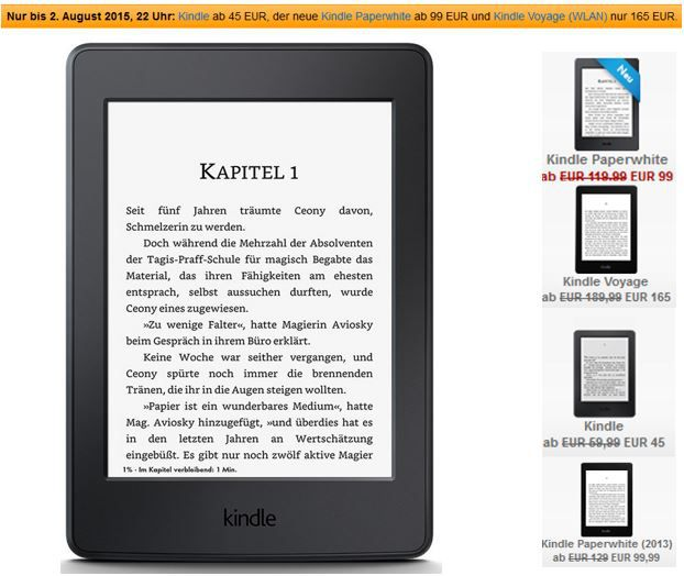 Kindle Touchscreen 2014 für 45€ und andere Kindle Angebote!