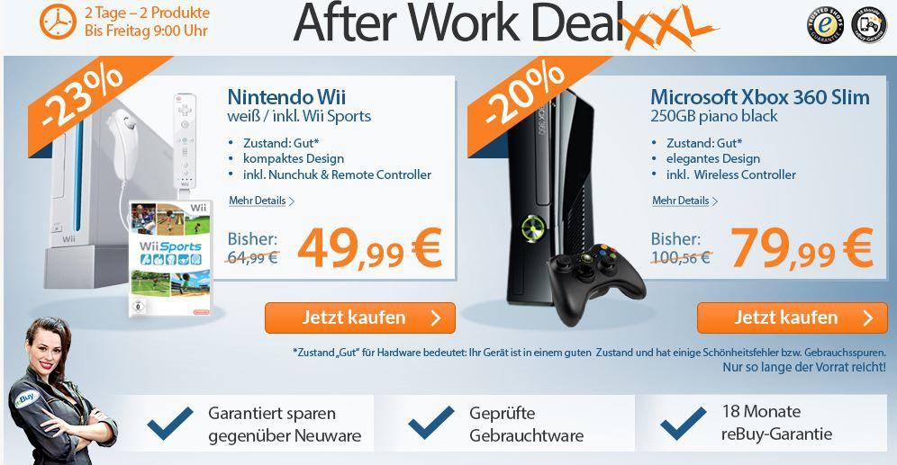 Nintendo Wii weiß für 49€ oder XBox 360 slim 250GB für 79€   als refurb. Ware im reBuy After Work Sale