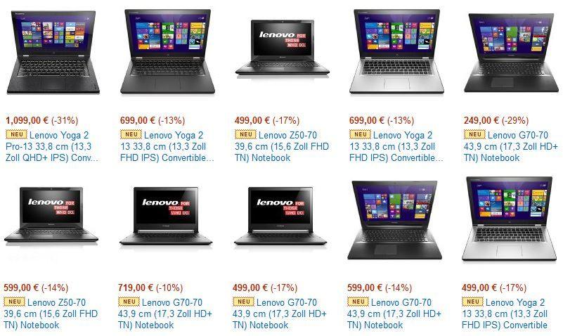 Lenovo Notebook Angebote von 249€ bis 1.099€ zum Teil mit sehr guter Ersparnis   Update
