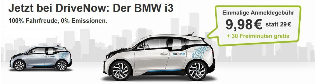 BMW i3 jetzt bei Drive Now: Neukundenanmeldung statt 29€ nur 9,98€ inkl. 30 Freiminuten   Update