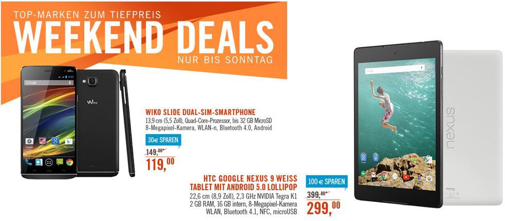 Nexus 9 Wiko Slide   4GB Dual SIM Android Smartphone für 119€ bei den Cyberport Weekend Deals
