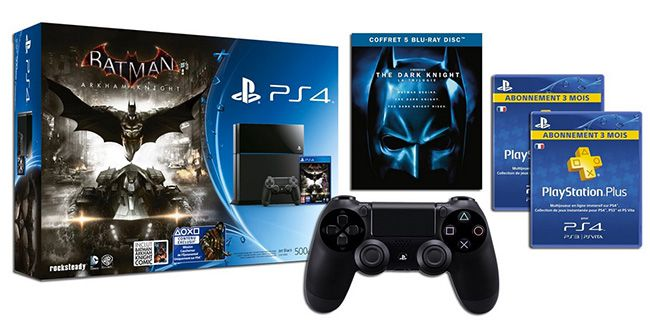 Playstation 4 + Batman Arkham Knight + 2. Controller + 6 Monate PS Plus (FR) + The Dark Knight Blu ray Trilogie für 409€
