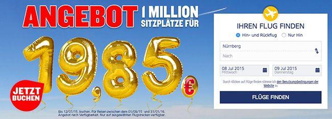 Ryanair 1 Million Ryanair Flüge für 19,85€ zum 30. Geburtstags Jubiläum   Reisezeitraum 1.9.15 bis 31.1.16