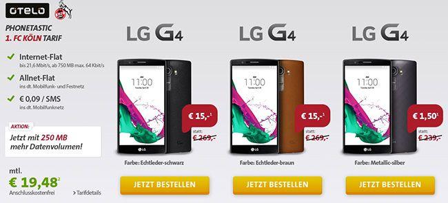 Otelo Allnet Flat M mit 750MB Internet + LG G4 32GB Smartphone ab 19,54€ monatlich   effektiver Gewinn von 28,98€ möglich