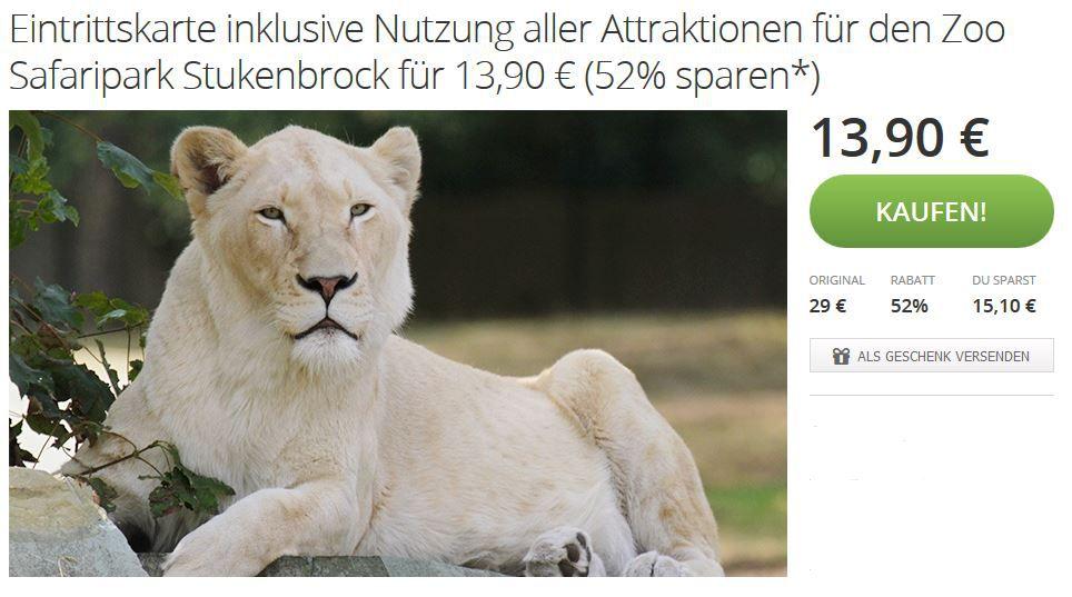 Stuckenbrock Zoo und Safaripark Stukenbrock   dank Groupon statt 29€   Eintrittskarte für nur 13,90€