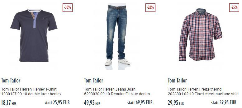 Tom Tailor Herren Chino Hose für 39,95€ im Jeans Direct Final Summer Sale mit bis zu 75% Rabatt