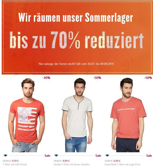 TomTailor Tom Tailor Summer Sale mit bis zu 70% Rabatt + 3 für 2 Aktion   Update!