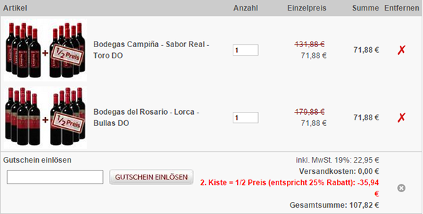 6 Flaschen Bodegas Campina Sabor Real + 6 Flaschen Bodegas del Rosario Lorca für 107,82€