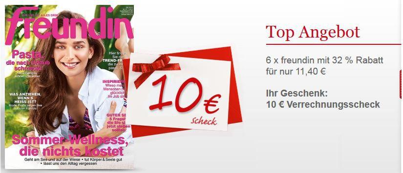 freundin abo 140Euro Freundin im mini Abo   6 Ausgaben für effektiv 1,40€ dank Scheckprämie